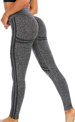 RUNNING GIRL Butt Lifting Leggings for Woman,High Waisted Seamless Yoga Compression Pants Tummy Control Gym Workout Tights(CK2617.Black.M)