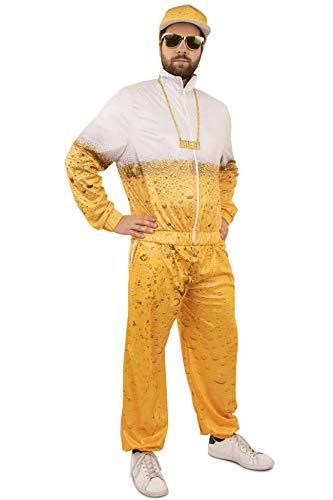 shoperama Bier Trainingsanzug für Damen und Herren JGA Kostüm Karneval Trash Party, Größe:L