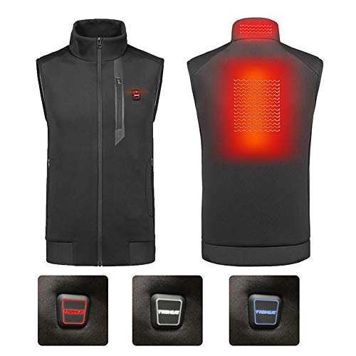 Roboraty Verwarmd vest, elektrisch verwarmings-kleding-vest, warm vest van de wandelende infrarood winter, de achterkant en de kraag worden verwarmd, wasbaar, met USB-interface XX-Large