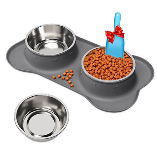 Hundenapf Katzennapf Fressnapf 2 x 1200ml Knochenform mit Saugnapf mit Futterschaufel Futter- und Wassernäpfe für Haustiere aus Edelstahl mit rutschfestem Silikonboden
