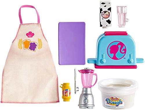 Barbie pack de accesorio pasteleria y cocina, pack de desayuno(Mattel GHK41)