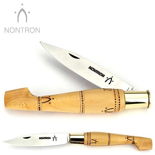 Nontron Messer - 12 cm - Griff Buchsbaum - Klinge XC75 Carbonstahl - Taschenmesser Frankreich - Brotzeitmesser mit Feststellring