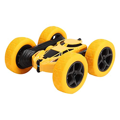 Ferngesteuertes Auto Spielzeug 2,4 Ghz Fernbedienung RC Stunt Rennauto 360 ° Flip High Speed Spielzeugauto Fahrzeug Ferngesteuerter Buggy Auto Rennfahrzeug Kinder Jungen Mädchen Erwachsene (Gelb)