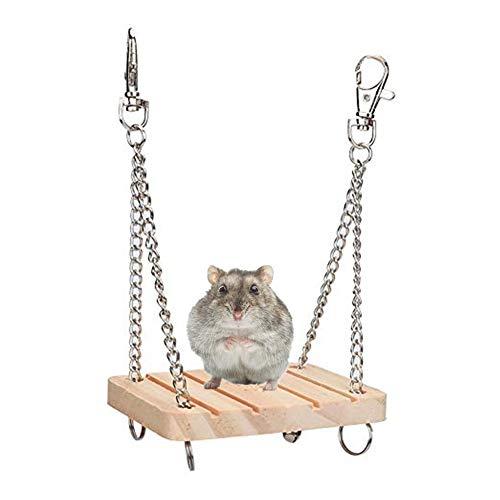 Pssopp Hamster Schaukel Spielzeug aus Holz Haustier hängen Bett Hamster Käfig Zubehör für Hamster Gerbil Meerschweinchen Chinchilla