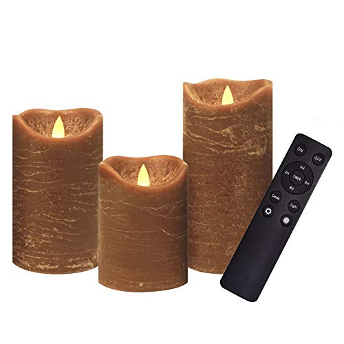 """3 Pack Real Wax Flameless Candles Battery Operated LED Pillar Flickering Realistic Electric Candle Gift Sets with Remote Control and Cycling 24 Hours Timer 3""""D X 4'5'6'H (Brown)"""