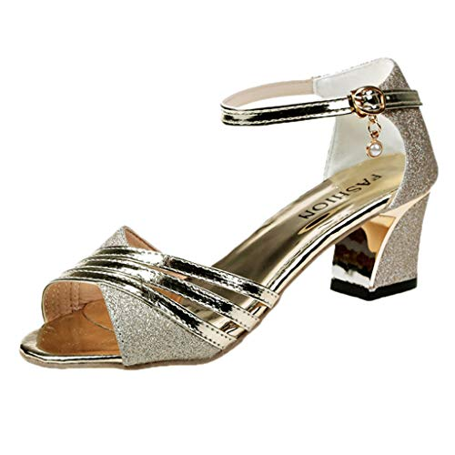 YEARNLY Damen Tanzschuhe Pumps Latin Schuhe Gesellschaftstanz Schuhe hochhackig Pailletten Sexy Silber, Schwarz, Gold 35-40