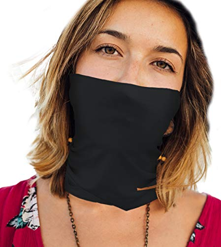 Thin Lightweight Cloth Face Mask Neck Gaiter for Summer Washable Made in USA -Black,One Size