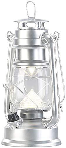Lunartec Akkuleuchte: Ultra helle LED-Sturmlampe, Akku, 200lm, 3W, tageslichtweiß, silbern (Hängeleuchte)