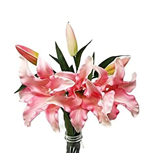 Floral Kingdom 30″ Long XLarge Real Touch Easter Tiger Lily Artificial Spring Flowers (3 pcs)