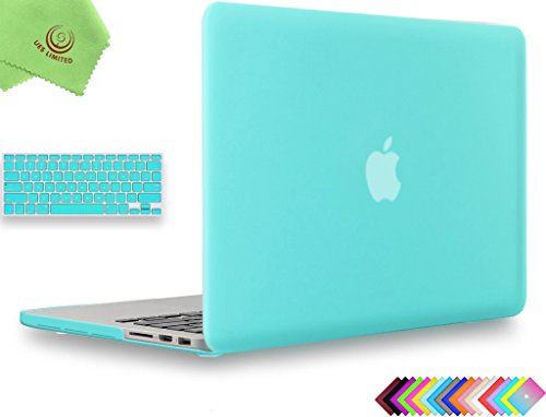 UESWILL 2in1 Smooth Matte Hard Shell Case with Keyboard Cover for (Late 2012-Early 2015 Version) MacBook Pro 13 inch with Retina Display (No CD-ROM) (Models: A1502/A1425), Turquoise