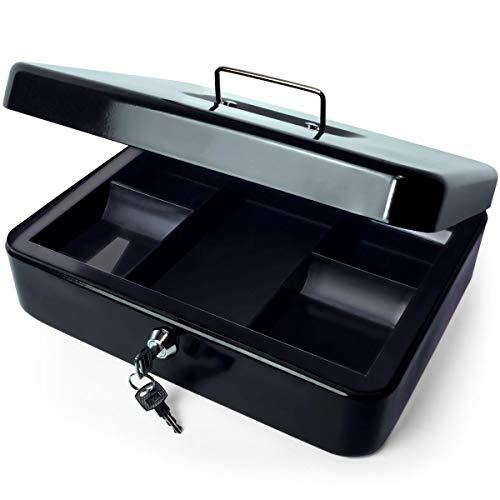 iGadgitz Home U7171 Caja Fuerte Portatil Caja Metalica con Llave y Bandeja Portamonedas, Caja Seguridad, Caja de Efectivo -Negro -12' (30cm)