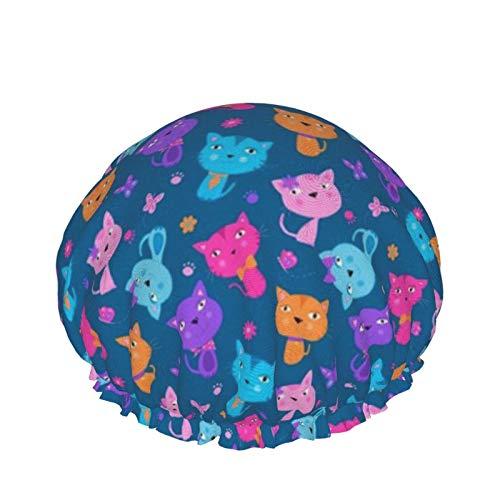 Gorro de ducha de doble capa para uso en el hogar para mujeres y niñas, para cabello largo rizado, para todas las longitudes de cabello (gatos lindos F)