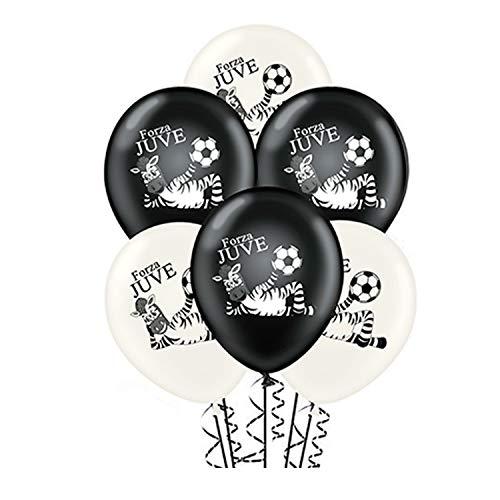 ocballoons 20 Palloncini Bianco Nero Forza Juve Compleanno Lattice Naturale Biodegradabili Decorazioni Addobbi per KIT Feste di Compleanno Gonfiabili con Bombola Elio Made in Italy