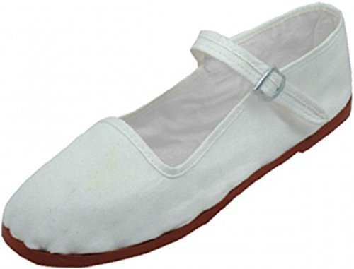 Easy USA Women's Cotton Mary Jane Shoes Ballerina Ballet Flats Shoes, White 114, 11