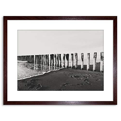 Wee Blue Coo LTD Photo BW Wood Stakes in Beach 9x7 Framed Art Print F97X12568