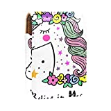 Estuche de lápiz Labial Estuche cosmético para Exterior Mini Bolso Soporte de Viaje portátil con Espejo Bolsa de Maquillaje Labial Magic Unicorn Flower Star