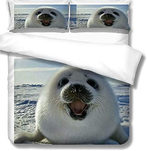 YANHUA Ropa de cama 3D de 135 x 200 cm con diseño de focas y animales, funda de edredón con funda de almohada para niños, niños y niñas (140 x 210 cm)