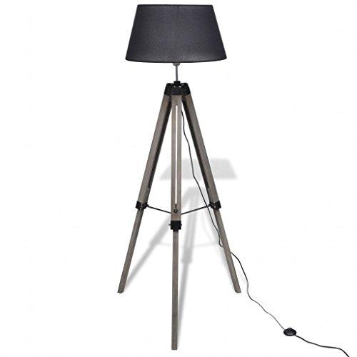 Lámpara de pie ajustable con trípode de madera con pantalla de tela, color negro, para salón con interruptor de pie negro ON/OFF