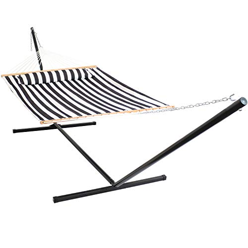 Sunnydaze Quilted Hammock with Stand 2 Person Heavy Duty - Double Hammock with 15 Foot Steel Stand for Backyard & Patio - 400 Pound Weight Capacity - Black & White