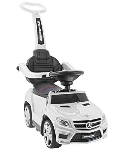 Mercedes GL63 AMG Rutscher Rutschauto Rutscher Kinderfahrzeug Kinderauto, Multifunktionales Spielzeug mit interaktivem Lenkrad mit Soundeffekten verbessert die manuellen Fähigkeiten (White)