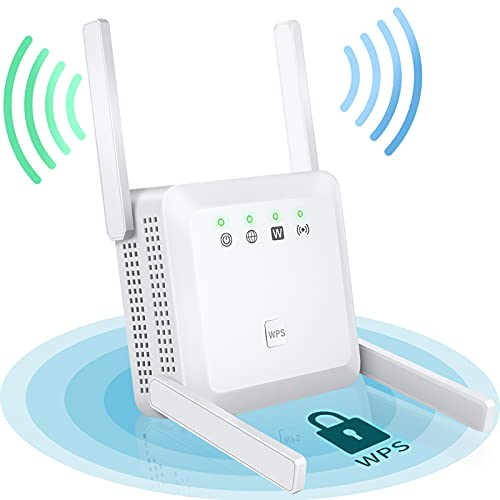 WiFi Range Extender, 1200Mbps Wireless Repeater Booster WiFi Extenders, WiFi Repeater Signal Booster with WPS Quick Connection, Dual Band 2.4G and 5G Expander with 4 Antennas & 2 Ethernet Port