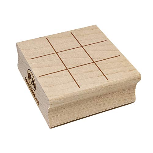 Tic Tac Toe Fill-in Game Grid Square Rubber Stamp for Stamping Crafting - 2.75in Large