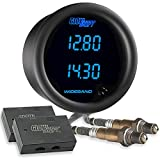 """GlowShift Black 7 Color Dual Digital Wideband Air / Fuel Ratio AFR Gauge Kit - Includes Oxygen Sensors, Data Logging Output & Weld-in Bungs - Clear Lens - Multi-Color LED Display - 2-1/16"""" 52mm"""