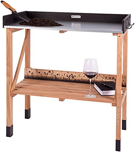 WONDERMAKE Planteringsbord i körsbärsträ, Väderbeständigt planteringsbänk trä, Utomhus-, balkong- eller växthus-användning, Stor galvaniserad bänkskiva, CO2-neutral, 85x45x92cm, Mörk-brun svart
