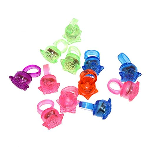 Zonfer Led Light Up Rings Glow in The Dark Bulk Novelty Jelly Blinking Toy Party Favors 10pcs