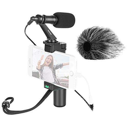 Neewer Smartphone Rig Cineasta Grip Soporte para Trípode con Clip para Teléfono y Micrófono de Video para Vlogging Videos de Youtube Transmisión en Vivo Filmación etc. Compatible con iPhone Android
