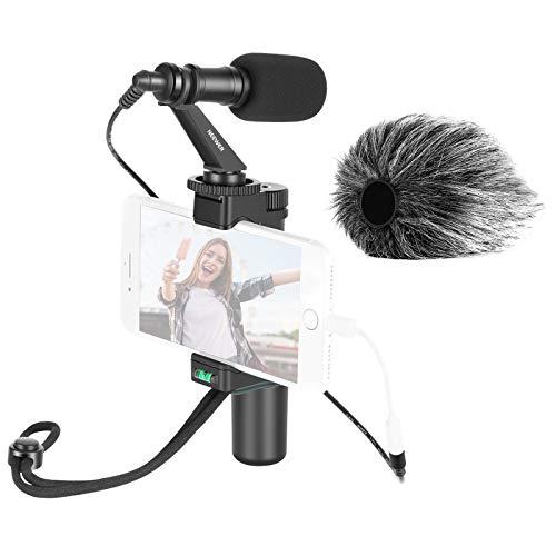 Neewer Smartphone Rig Filmemacher Stativhalterung mit Handyklammer und Videomikrofon fur Vlogging YouTube Videos Live Streaming Filmemachen usw Kompatibel mit iPhone Android Smartphones