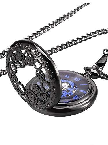 Mudder Steampunk Blue Hands Scale Mechanical Skeleton Pocket Watch
