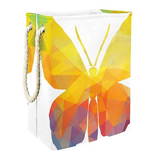 TIZORAX bunte dreieckige tropische Schmetterlinge faltbarer Wäschekorb Wäschekorb Aufbewahrungskorb für Badezimmer Schlafzimmer Zuhause Spielzeug Kleidung Organizer
