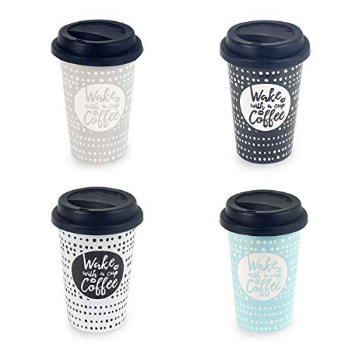 Decor And Go Mug Con Tapa Silicona Incluye 4 Unidades Cocina Mugs Y Vasos