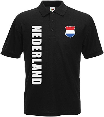 AkyTEX Niederlande Nederland EM-2020 Polo-Shirt Wunschname Nummer Schwarz L