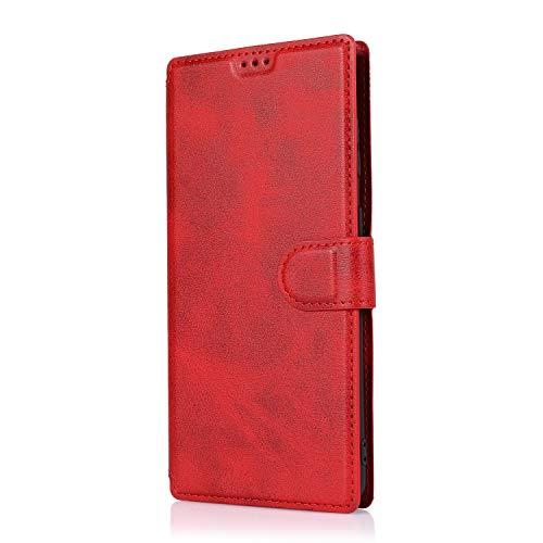 AChris Funda Huawei P30, Funda Protectora de Cuero PU con Cáscara de TPU Ranuras para Tarjetas Soporte Plegable Cierre Magnético Flip Wallet Case Cover para Huawei P30, Rojo
