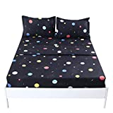 MAG Galaxy Microfiber Bed Sheet Black Planet Out Space Bedding Sheet Set with 1 Flat & 1 Fitted Sheet with 1 PillowSham for Boys,Girls and Kids (Twin, Black)
