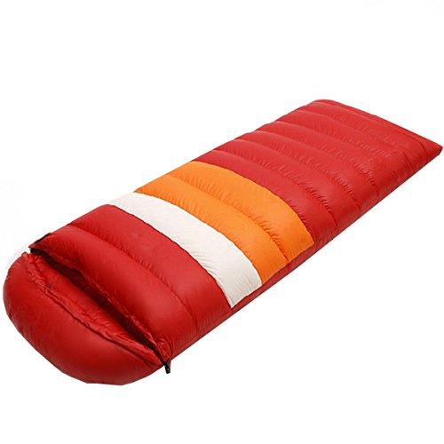 Xin.S Imperméable à L'eau Enveloppe Rayée Sac De Couchage En Duvet Voyage 4 Saisons Camping Randonnée Activités De Plein Air Sac De Couchage Léger,Red-210*80cm(2.1kg)