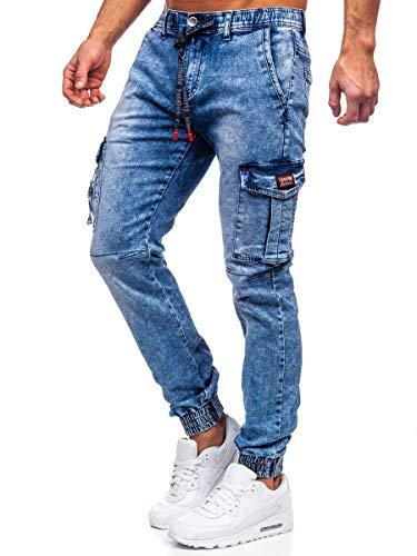 BOLF Hombre Pantalón Vaquero Cargo Jogger Denim Jeans Pantalón de Mezclilla Sombreado Vaqueros de Algodón Slim Fit Estilo Urbano TOPHERO T350 Azul Oscuro S [6F6]