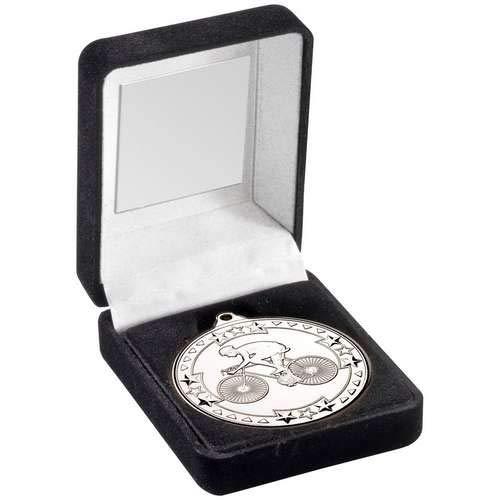 Womack Graphics JR47-TY65B - Scatola per medaglie e trofeo da ciclismo da 50 mm, colore: Argento