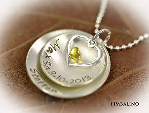 Namenskette, 925 Silber, Goldherz, Familienkette mit Gravur und Herzanhänger