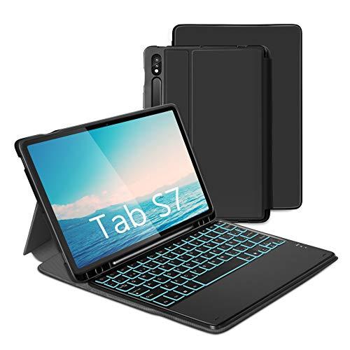 Jelly Comb Funda con Teclado Español Ñ para Samsung Tab S7 11 '' Funda Protectora para Tableta Samsung (SM-T870 / 875), Teclado Bluetooth Extraíble con Retroiluminación de Siete Colores QWERTY, Negro