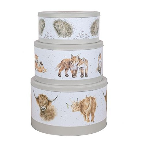 Wrendale Designs Country Set Cake Tins - Cow, Fox and Hedgehog - Set Of 3 Tiered Cake Tins