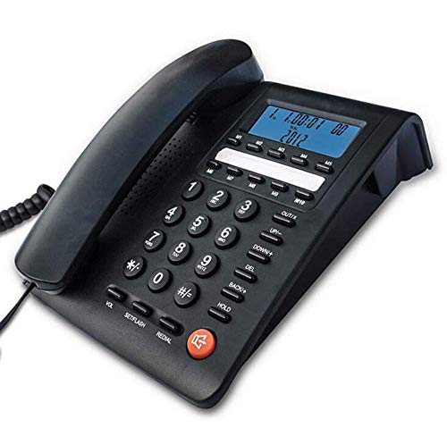 SHKUU Retro Phone Office Hotel Home TeléFono Fijo Identificador De Llamadas FuncióN De Memoria Memoria De Un Solo BotóN Negro 164 * 77 * 204 Mm
