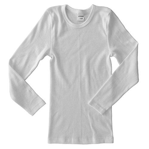 HERMKO 2830 3er Pack Kinder Langarm Unterhemd Mädchen + Jungen (Weitere Farbe) Bio-Baumwolle, Farbe:weiß, Größe:104