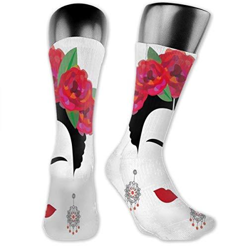 Ohrringe Rot mexikanisch spanisch minimalistisch Frida Kissen Crew Socken Workout Training Wandern Walking Athletic Sportsocken für Männer und Frauen Sneaker Low Cut Socken