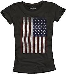 MAKAYA USA - Camiseta con Bandera Americana para Mujer
