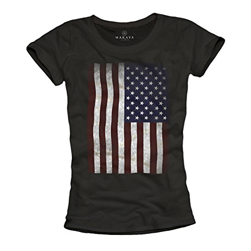 MAKAYA USA - Camiseta con Bandera Americana para Mujer - Negra M