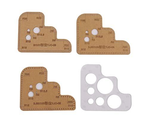レザークラフト 縁取り用 アクリル R定規 4種セット (3 3.38 3.85mm 大丸)切り出し 型紙 革 皮