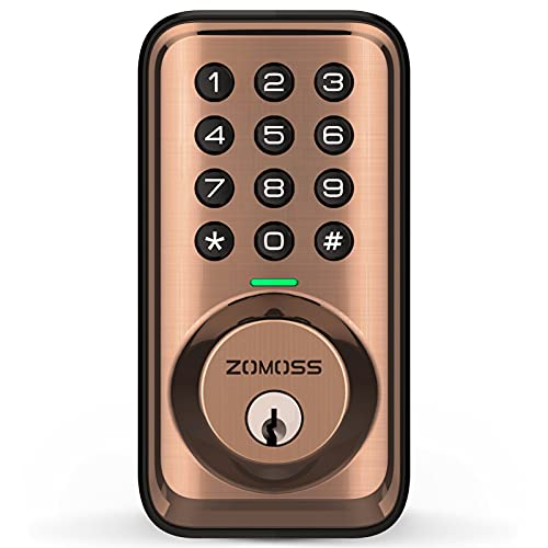 Keyless Entry Door Lock, Zomoss Electronic Keypad Deadbolt Lock, Digital Door Locks with Keypads, Key Code Door Lock for Front Door with 20 User Codes, Auto Locking, Easy to Install, Antique Copper